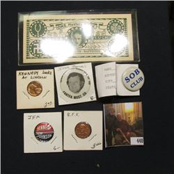 "R.F.K. Medal; Kennedy Looks at Lincoln Counterstamped Lincoln Cent; ""Iowa Farmers Want Ted in '80 Ca"