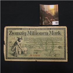 August 20, 1923 Twenty Million Mark German Banknote.