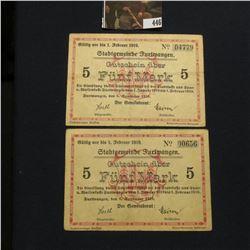 """Pair of February 1, 1919 """"Stadtgemeinbe Furiwangen Gutschein uber Funf Mark"""", VF."""