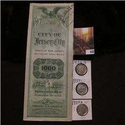 1949 Gold Bond  City of Jersey City State of New Jersey ; 1936D VG, 37P EF, & 37S VF Buffalo Nickels