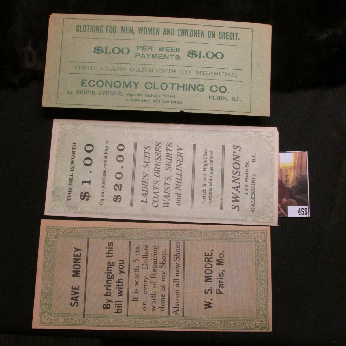(3) Different early $10 Confederate States of America Fac-simile  Advertising notes from Paris, Mo ,