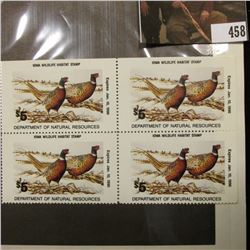 "Block of Four 1989 $5 ""Iowa Wildlife Habitat Stamp(s)"", depicting a pair of Rooster Pheasants."