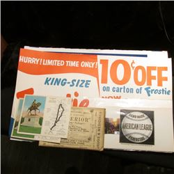 "Heavy paper sign ""Hurry! Limited Time Only! King-Size Frostie 10c Off on carton of Frostie Now 6 (pl"