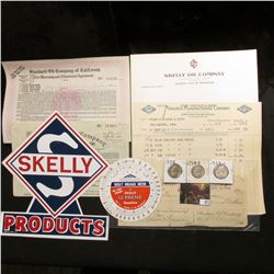 """Large """"Skelly Products"""" self Sticking Label; (3) Standard Oil Company invoices 1908-1940; """"Skelly Mi"""