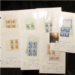 1957-60 Plate Blocks of Four Scott #1104, 1107, 1110, 1111, 1113, 1114, Pair of 1118, 1125, 1126, 11