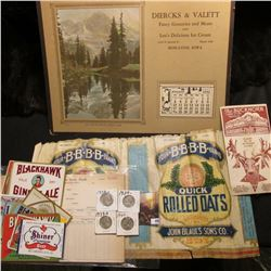 "1930 era label for 3 Lbs. package ""Four.B.B.B.B.Brand Quick Rolled Oats Distributed by John Blaul's"