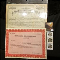 "1897 First Mortgage Bond Muscatine, Iowa October 12th, 1897; unissued Stock Certificate ""The Muscati"