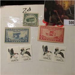 Scott C2 Airmail Stamp, Used, VF; Scott # 650 5c Blue, mint Stamp; (2) pairs of 13c Waterfowl Stamps