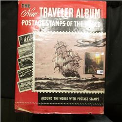 The Traveler Album Stamps of the World with about 200 Used World Wide Stamps.