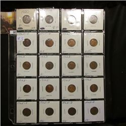 Sheet of 20 AG-VF Lincoln Cents - 1-1920, 3-20 D, 2-20 S, 2-21, 4-23, 4-25, 4-25 D