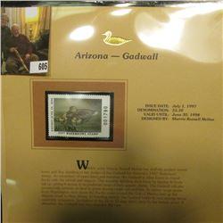 1997 Arizona $5.50 Waterfowl Stamp, Gadwall, Mint, unused, in original holder with literature.