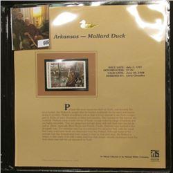 1997 Arkansas $7.00 Waterfowl Stamp, Mallard Duck, Mint, unused, in original holder with literature.