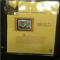 1997 California $10.50 Waterfowl Stamp, Northern Pintail, Mint, unused, in original holder with lite