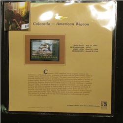 1997 Colorado $5 Waterfowl Stamp, American Widgeon, Mint, unused, in original holder with literature