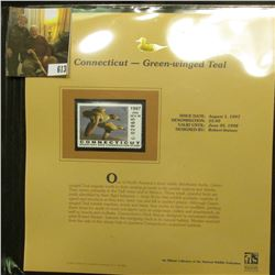 1997 Connecticut $5 Waterfowl Stamp, Green-winged Teal, Mint, unused, in original holder with litera