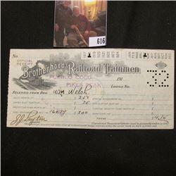 "1918 Official Receipt of Railroad Trainmen of Pueblo Colo. Pikes Peak Lodge No. 32 ""Order for Secret"