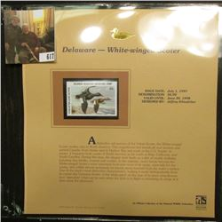 1997 Delaware $6 Waterfowl Stamp, White-winged Scoter, Mint, unused, in original holder with literat