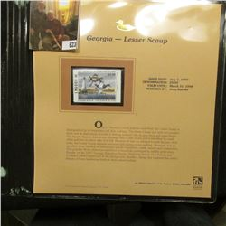 1997 Georgia $5.50 Waterfowl Stamp, Lesser Scaup, Mint, unused, in original holder with literature.
