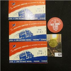"""(3) Booklets of 48 Air Mail Labels """"Compliments of """"Chuck"""" Whipple Thompson Transfer & Storage Co. 5"""
