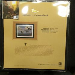 1997 Illinois $10.00 Waterfowl Stamp, Canvasback, Mint, unused, in original holder with literature.