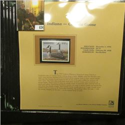 1997 Indiana $6.75 Waterfowl Stamp, Canada Goose, Mint, unused, in original holder with literature.