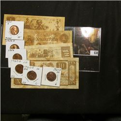 """(4) Pieces of """"Colonial"""" (bread) """"Early American Money""""; 1955D, 56P, & D, & (3) BU 1960 D Small Date"""