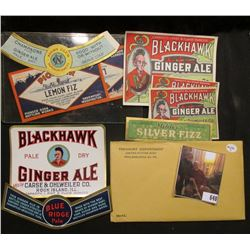 """Mehler's Silver Fizz"" label; ""Blue Ridge Pale"" label; ""Night Club…Champagne Type Ginger Ale"" label;"