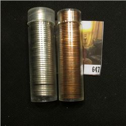 1958 P Original BU Roll of U.S. Wheat Cents in a plastic tube & a roll of various date Jefferson Nic