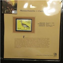1997 Massachusetts $5 Waterfowl Stamp, Curfew, Mint, unused, in original holder with literature.
