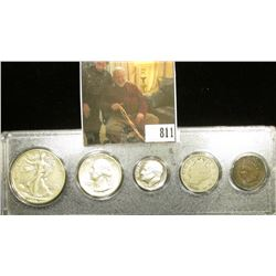 Type Set 1939 Half, 1943D Proof Quarter, 1978S Proof Dime, 1903 Nickel & 1906 Indian Head Cent. in a
