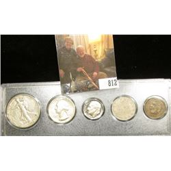 Type Set 1939D Half, 1948S Proof Quarter, 1977S Proof Dime, 1905 Nickel & 1905 Indian Head Cent. in