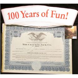 Cracker Jack 100 Years of Fun! Navy Cap and 1936 10- Shares of Cracker Jack Co. Stock Certificate.