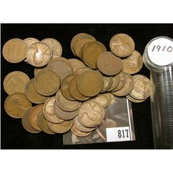 1910 P Solid date Lincoln Cent Roll (53) Pieces. Grades Fine to EF.
