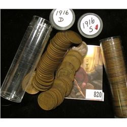 1916 D & 16 S Solid date Rolls of Lincoln Cents.