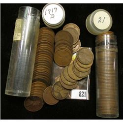 1917 D & 21 P Solid date Rolls of Lincoln Cents.