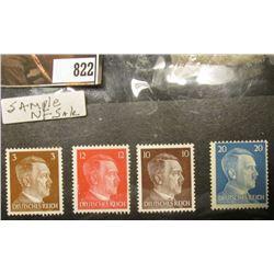 Set of (4) 1930 era Adolph Hitler German Deutsches Reich Stamps attached to black paper, 3 pfennig,