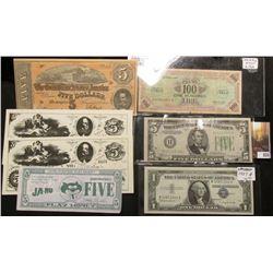 Series 1957B $1 Silver Certificate, CU; Series 1934A $5 Federal Reserve Note St. Louis, Mo., EF; Ser