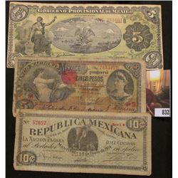 1914 Republic of Mexico 10c Note; 1908 National Bank of Mexico 5 Centavos Note; & 1914 Provisional G