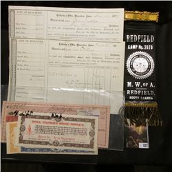 """Dec. 25, 1869 City of Muscatine Collector's Office Receipt; (4) Different North Bend, Nebraska """"Poll"""