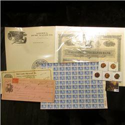 "Lid label ""Poudre Stomachioue Calma""; Stationery ""America Dump Wagon Co….Cedar Rapids, Iowa""; 1899 C"