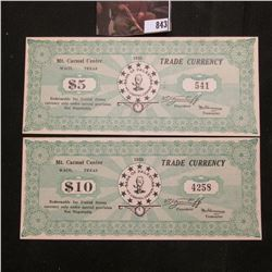 """1938 $5 & $10 Mt. Carmel Center, Waco, Texas Trade Currency """"Redeemable for United States currency u"""