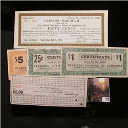 """1917 Hostetter, Pa. Coal Scrip from Union Supply Co. Hole cancelled; """"First Issue February 15, 1933"""