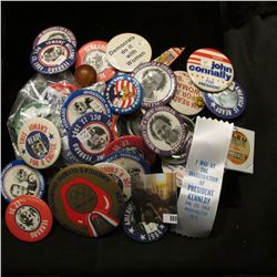 """Nice collection of Old Political Pin-backs; superball with inside """"Chicago Cubs Willie Smith Outfiel"""