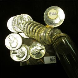 (22) 1956 D Silver Washington Quarters in Gem BU condition, stored in a plastic tube.
