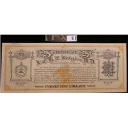 1913  Twenty-Five Dollars Certificate L.C.B.E. Zeigler, M.D. Suite 1409 Champlain Building 8 North S