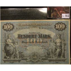"1900 Bavarian Central Bank of Germany, 100 marks, ""Bayerische Notenbank"", Nice condition."