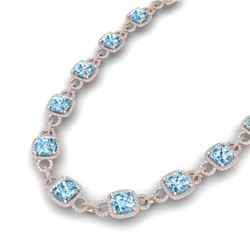 66 CTW Topaz & VS/SI Diamond Certified Necklace 14K Rose Gold - REF-805H3W - 23053