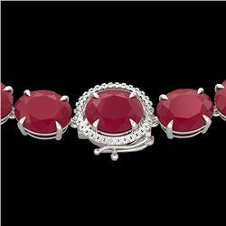 170 CTW Ruby & VS/SI Diamond Halo Micro Eternity Necklace 14K White Gold - REF-993X8T - 22312