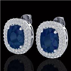 6.30 CTW Sapphire & Micro Pave VS/SI Diamond Halo Earrings 18K White Gold - REF-160X9T - 20126