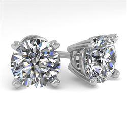 4 CTW Certified VS/SI Diamond Stud Earrings 14K White Gold - REF-1827T3X - 38386